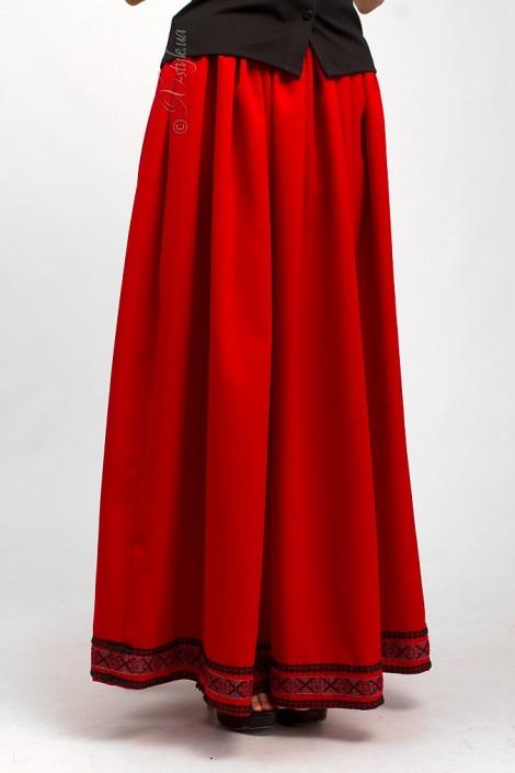Длинная юбка с вышивкой и кружевом (107118)
