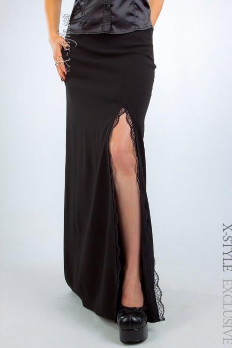 Длинная юбка с разрезом и кружевом (107087)
