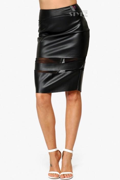 Кожаная юбка-карандаш 107110 (107110)