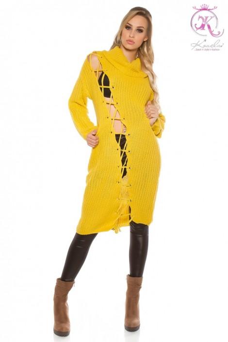 Яркое платье-свитер с широким воротником (105364)