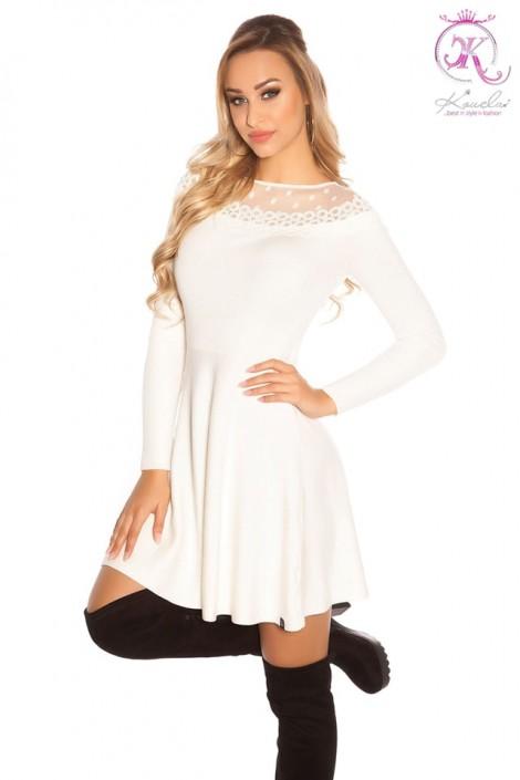 Зимнее белое платье клеш KC5378 (105378)