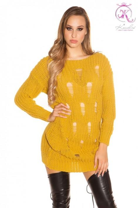 Рваный свитер-туника горчичного цвета (105379)