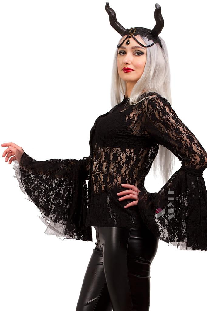 Ажурная черная блузка X1216, 5