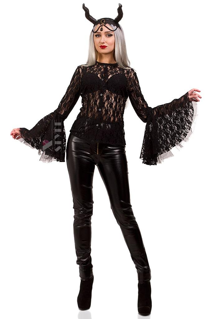 Ажурная черная блузка X1216, 3