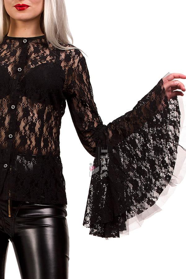 Ажурная черная блузка X1216, 11