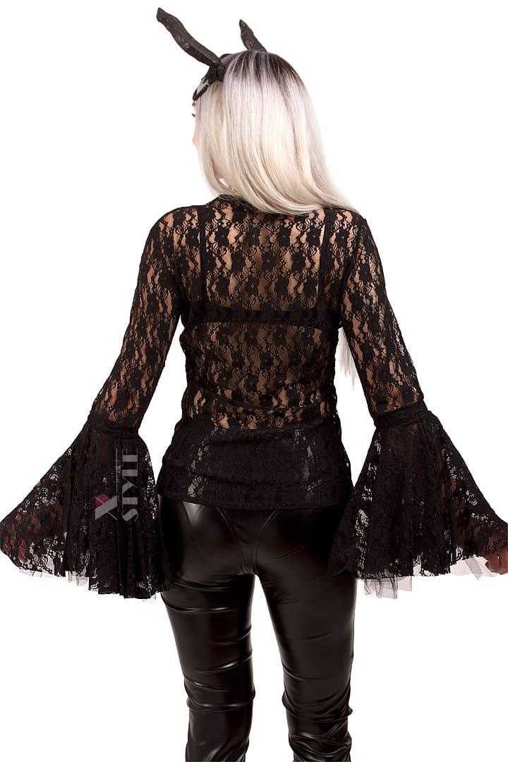 Ажурная черная блузка X1216, 7