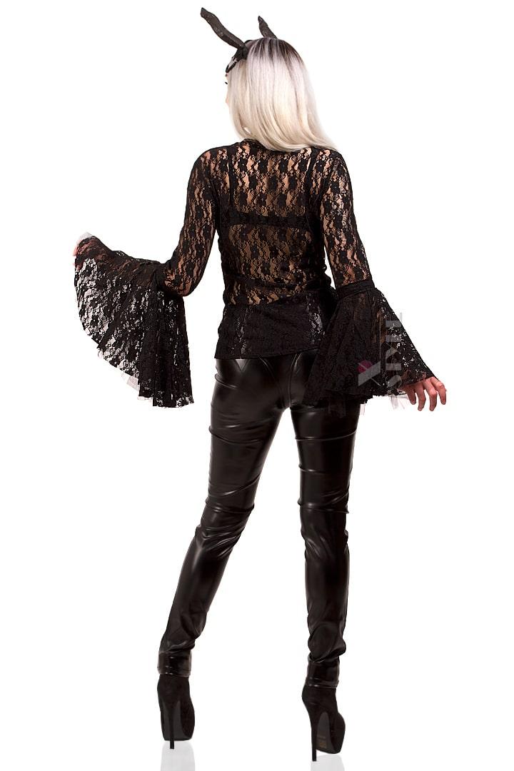 Ажурная черная блузка X1216, 9