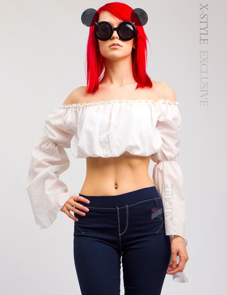 Летняя блуза с открытыми плечами X-Style
