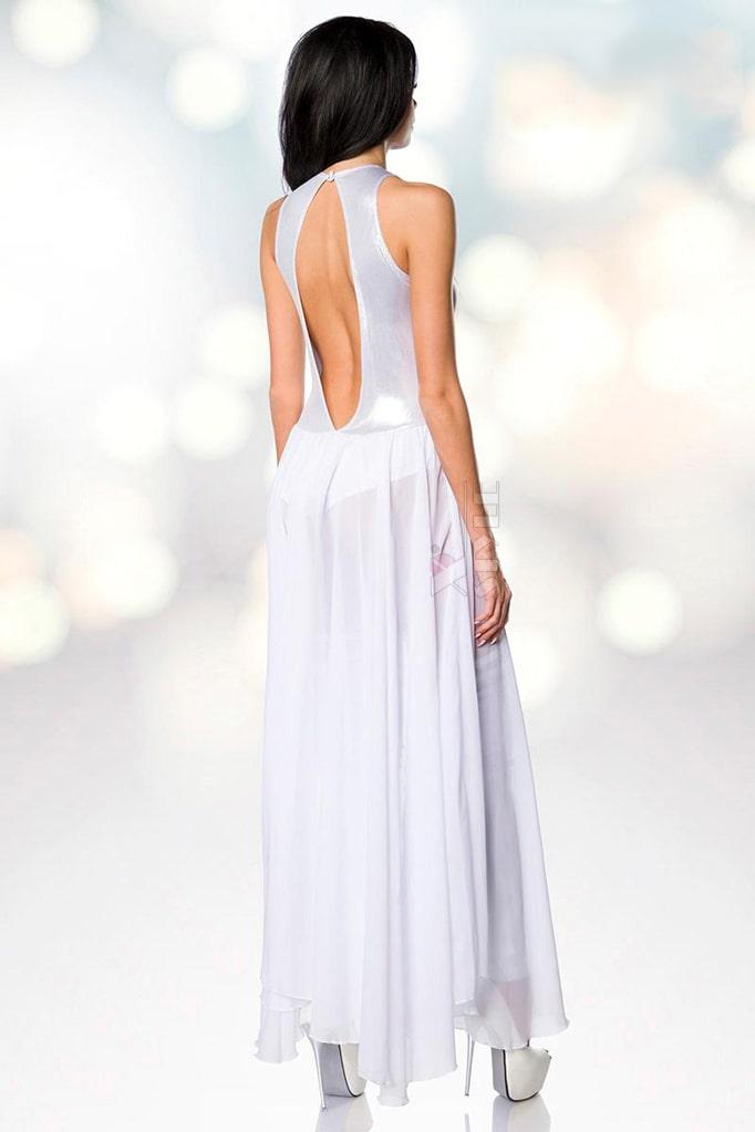 Откровенное серебристое платье-боди и гетры S215, 7