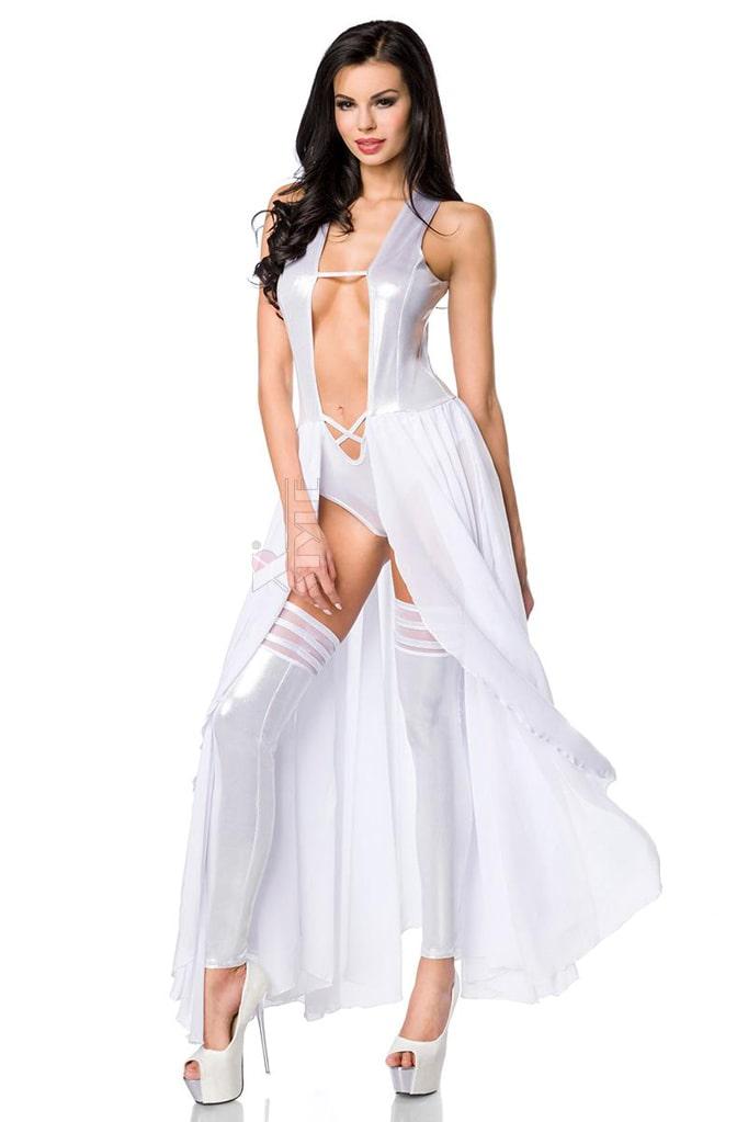 Откровенное серебристое платье-боди и гетры S215, 3