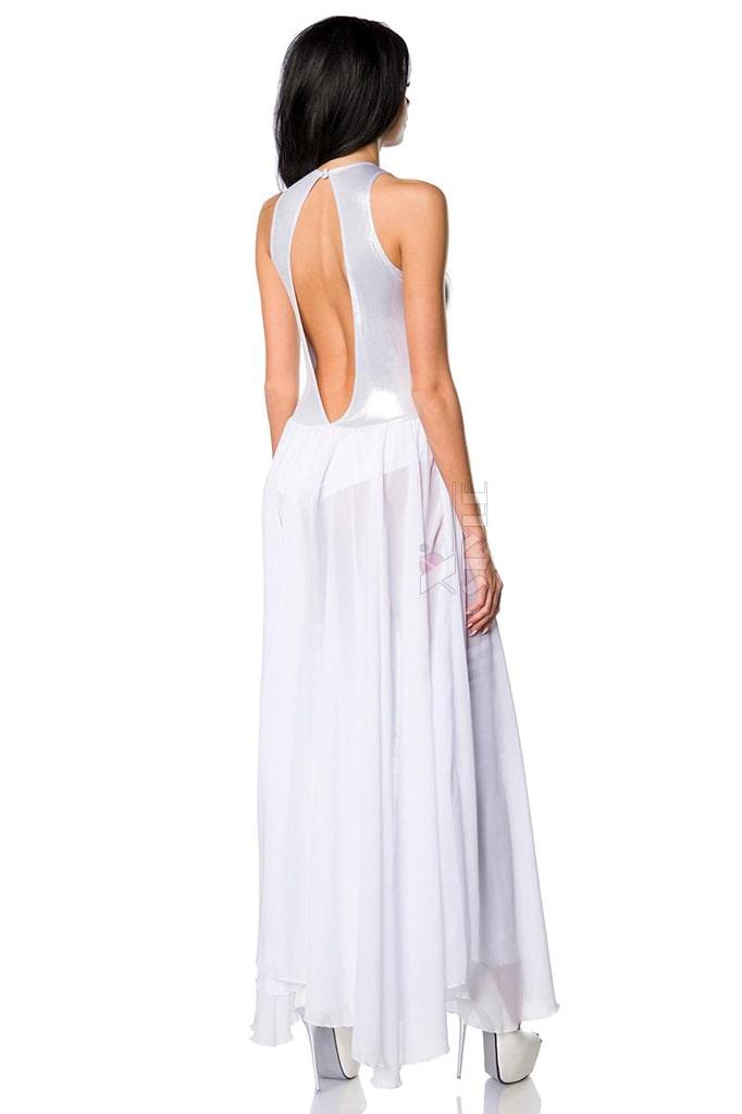 Откровенное серебристое платье-боди и гетры S215, 5
