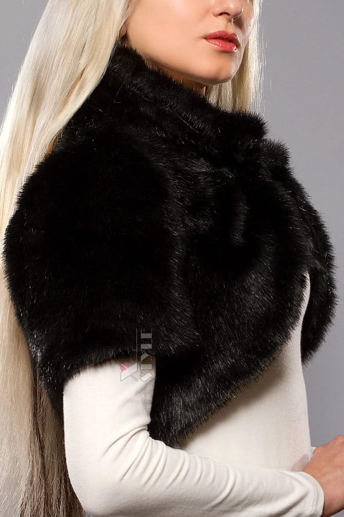 Черное меховое болеро X4117, 5