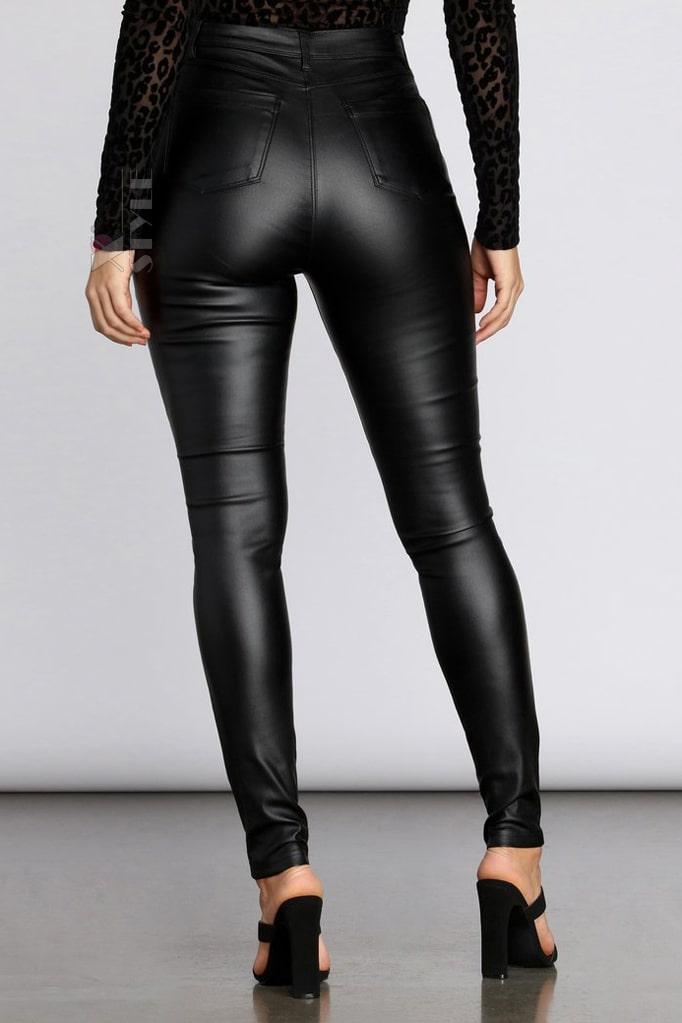 Кожаные брюки высокой посадки X8106, 3