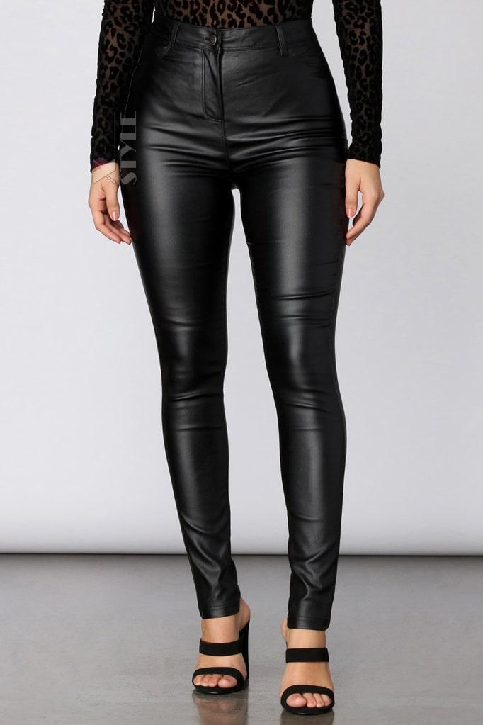 Кожаные брюки высокой посадки X8106, 7