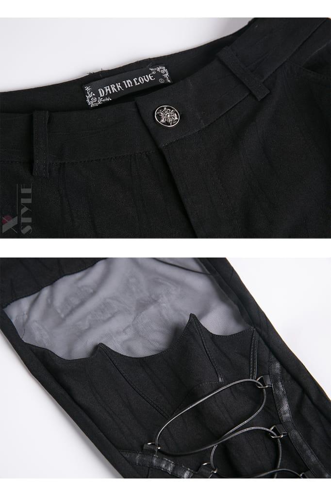 Брюки-ботфорты со шнуровкой и сеточкой DL115, 17