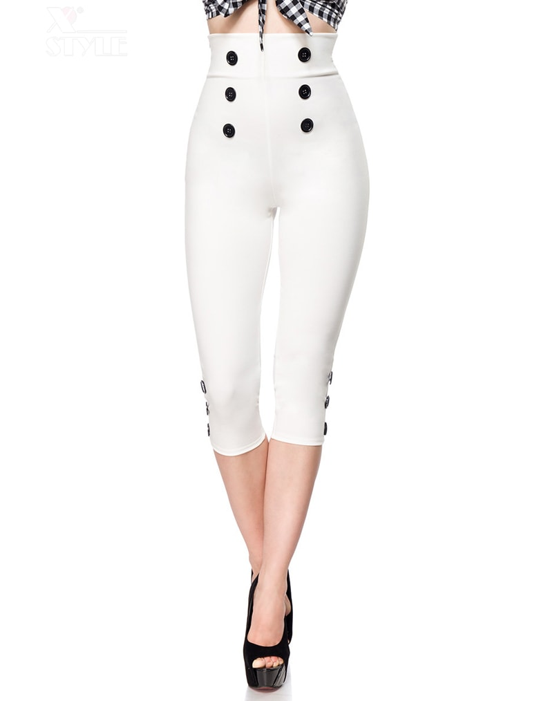 Белые брюки с высокой талией 057, 9