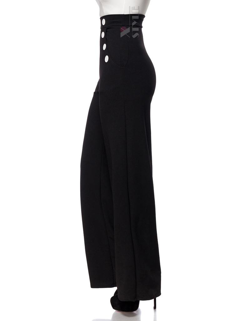 Широкие брюки с карманами и высоким поясом, 5