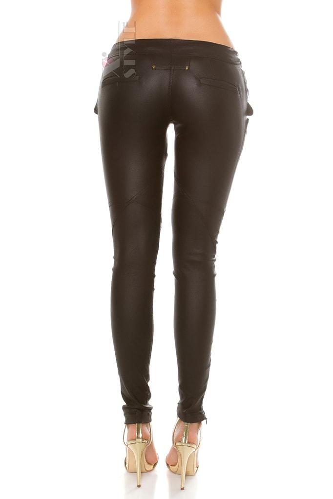 Джинсовые брюки с имитацией кожи, 3