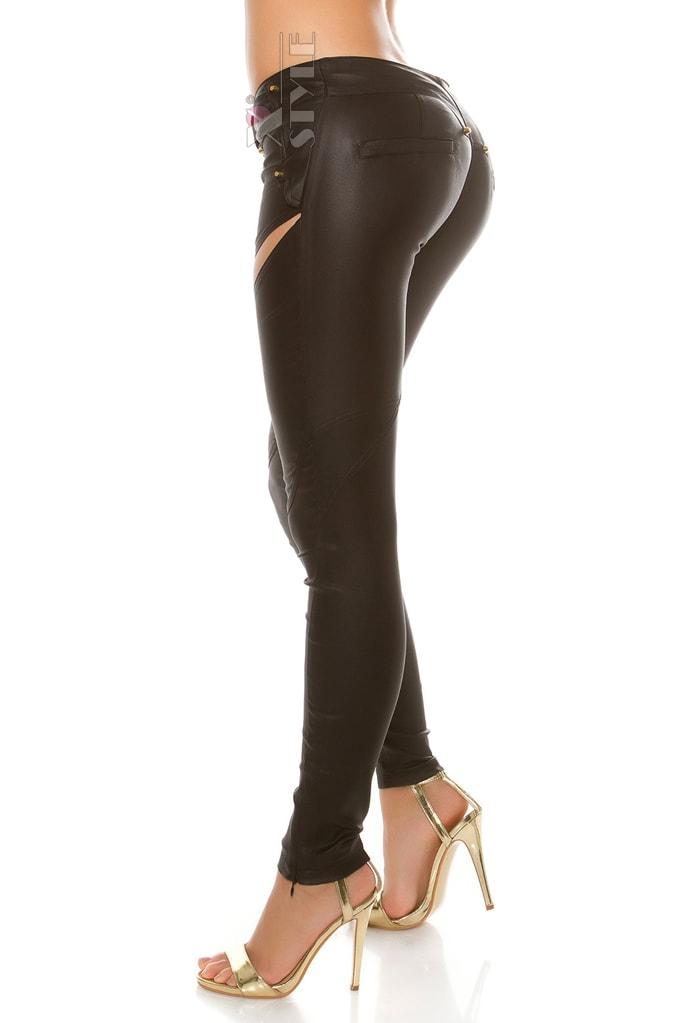 Джинсовые брюки с имитацией кожи, 11