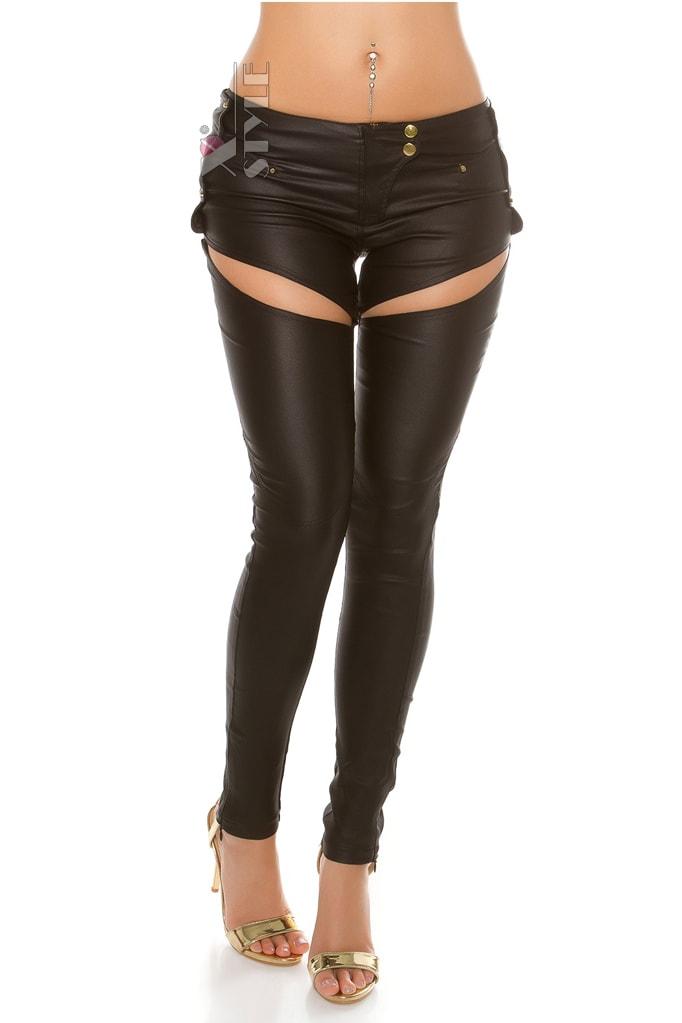 Джинсовые брюки с имитацией кожи, 5