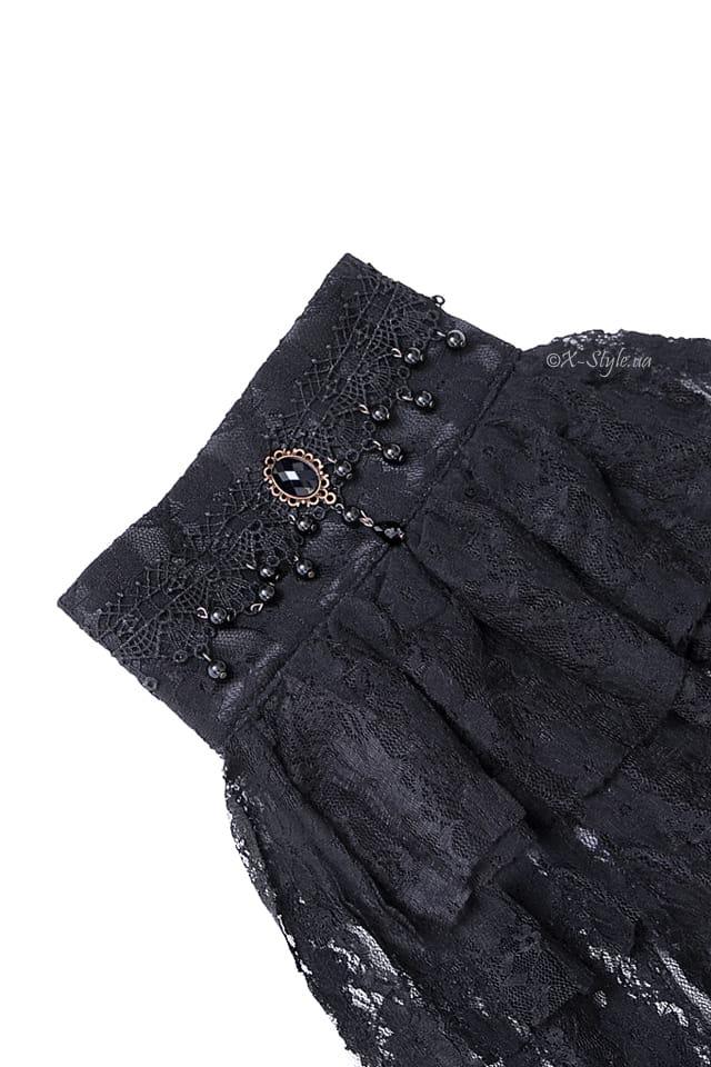 Черное жабо с камнями и бисером XA16, 3