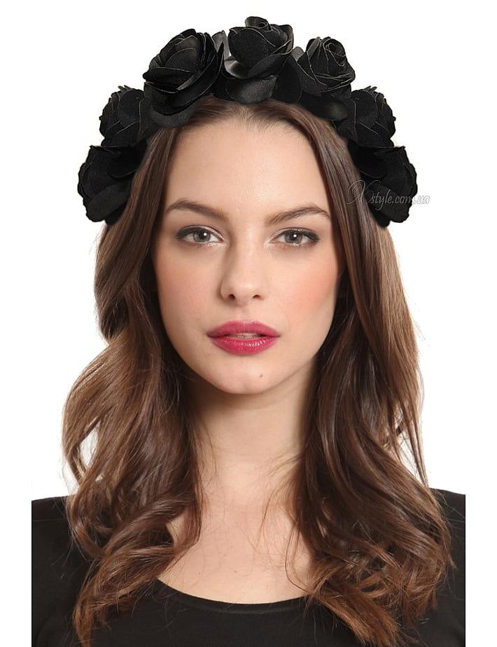 Обруч с черными розами XA4204, 3