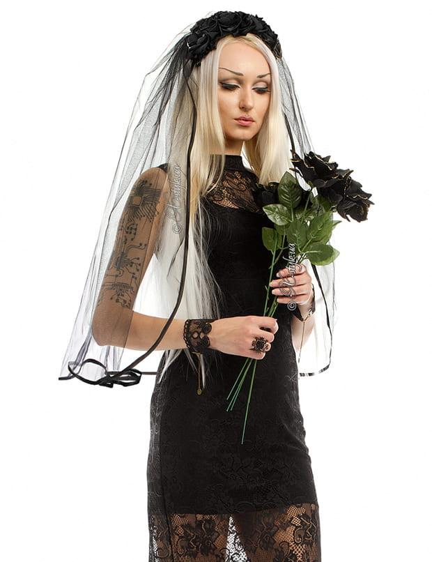 Обруч с черными розами и фатой, 5