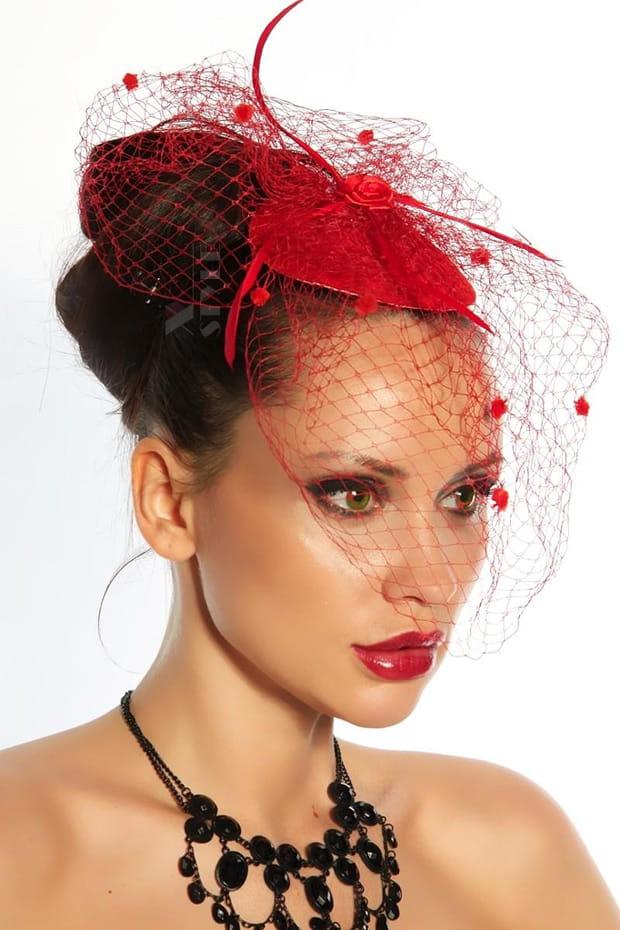 Красная шляпка с вуалью A2014, 3