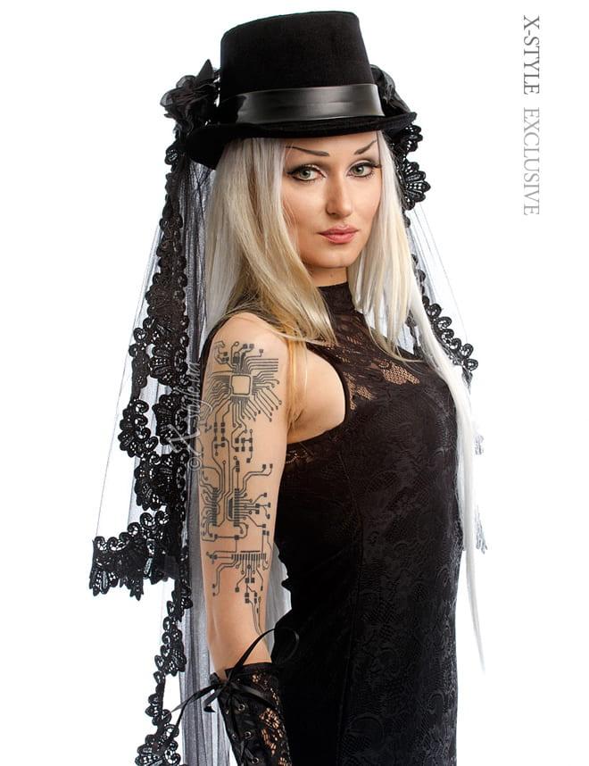 Шляпа-цилиндр со съемной фатой 501019