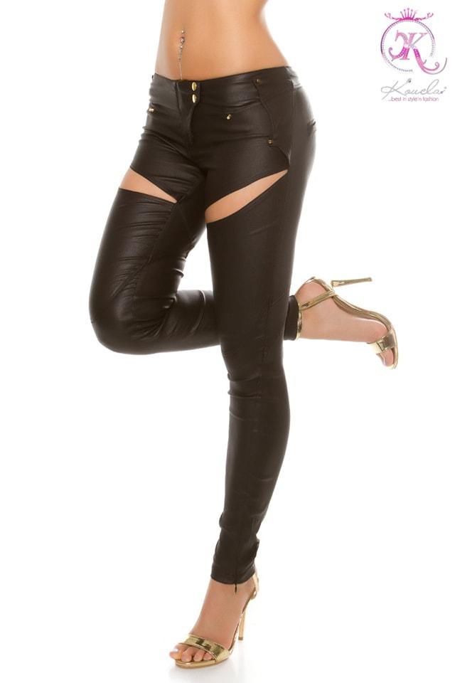 Джинсовые брюки с имитацией кожи, 7