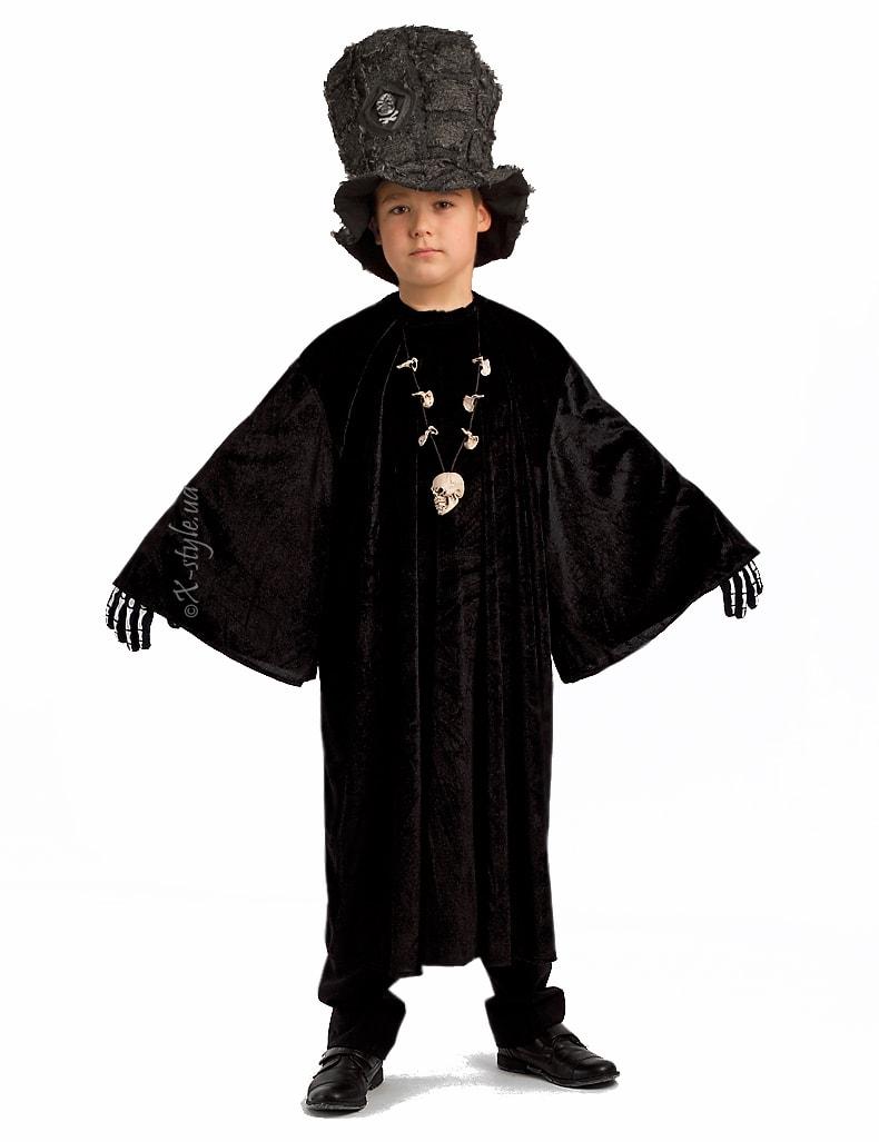 Детский черный балахон с широким рукавом, 3