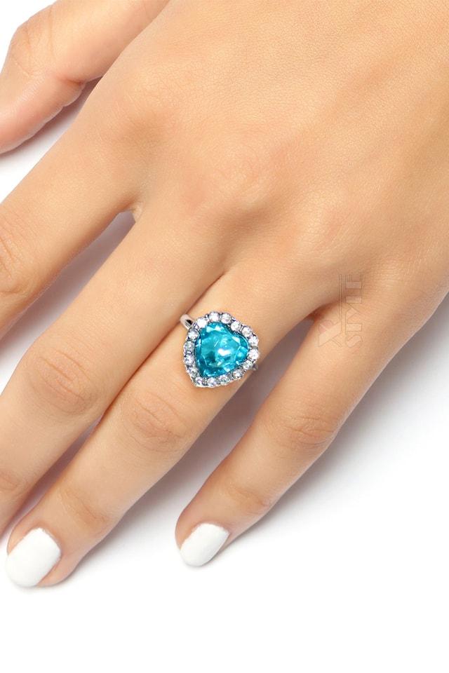 Кольцо с голубым камнем XJ8186, 5