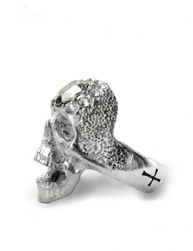 Массивное кольцо-череп с камнями Swarovski, 5