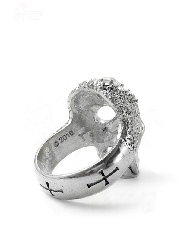 Массивное кольцо-череп с камнями Swarovski, 3