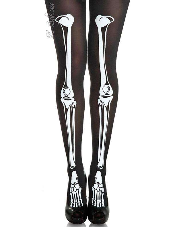 Колготки с принтом скелета