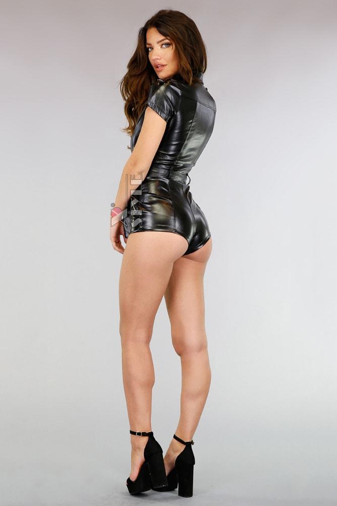 Черный кожаный комбинезон с коротким рукавом MF6240, 3