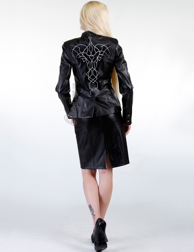 Кожаная куртка с вышивкой, 3