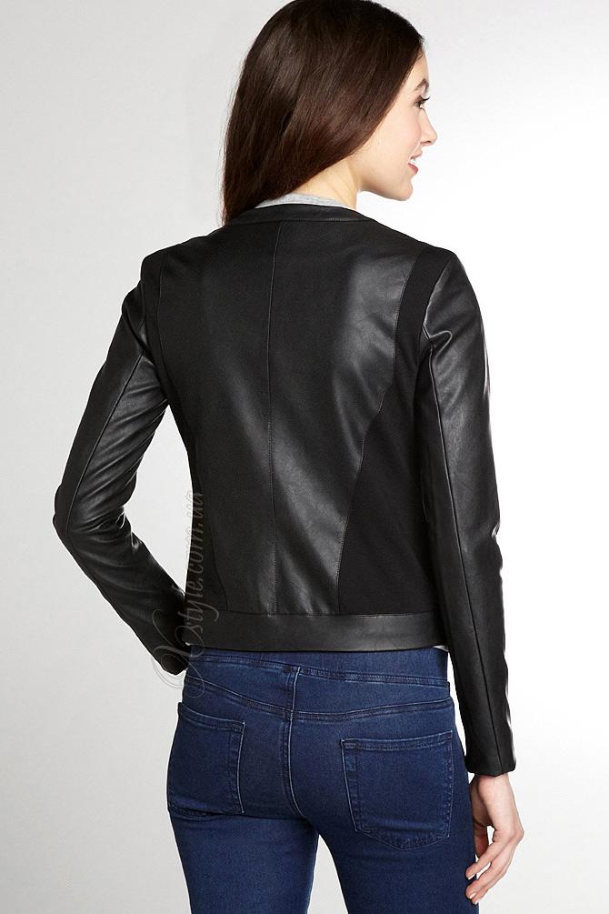 Женская кожаная куртка с кашемировыми вставками, 3