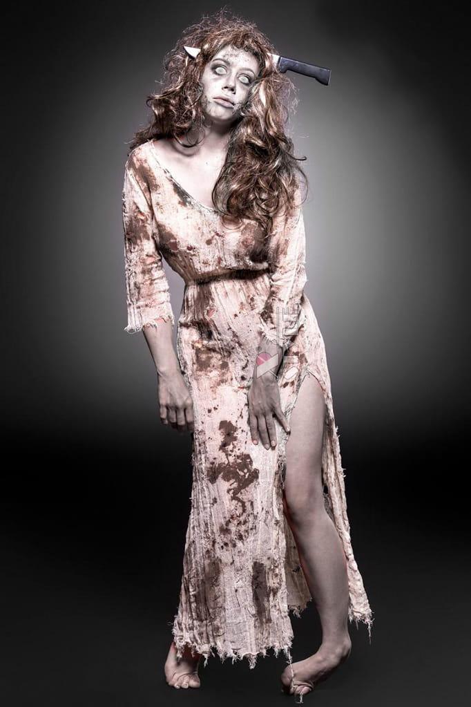 Женский костюм зомби (платье, парик и обруч), 3