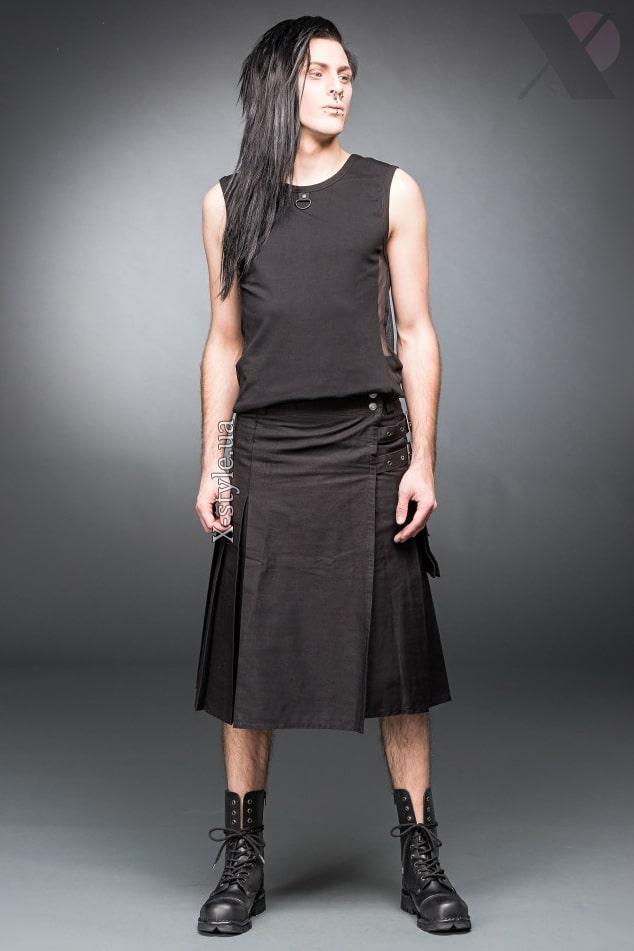Черный килт с навесным карманом, 5