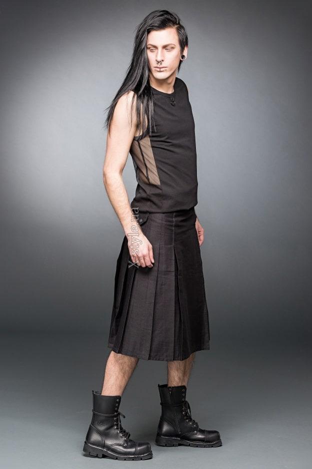 Черный килт с навесным карманом, 3