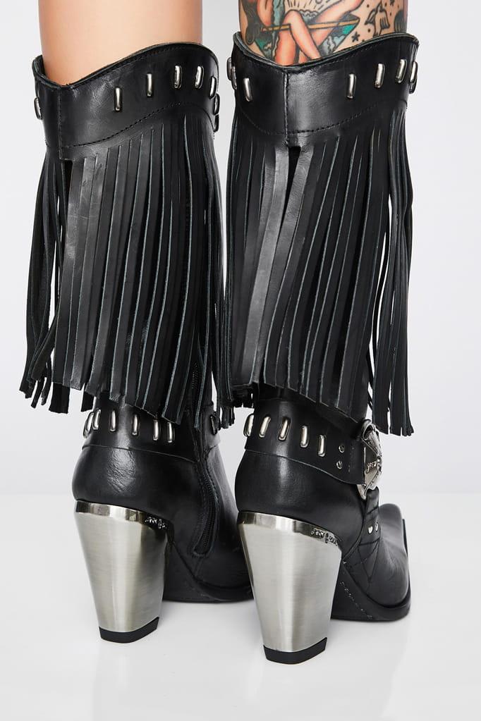 Женские кожаные казаки с бахромой NOMADA ITALI, 3