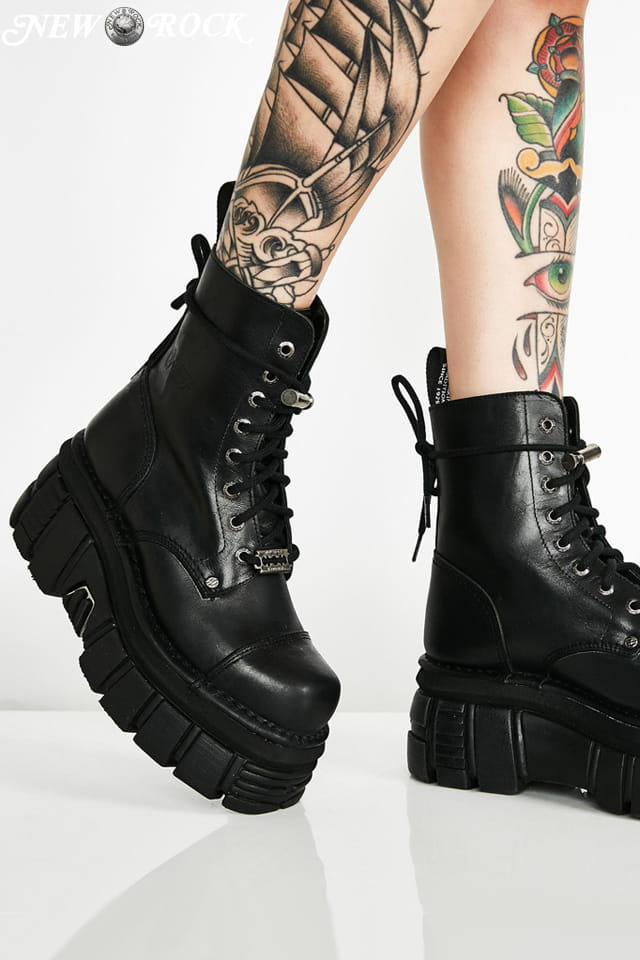 Кожаные ботинки на платформе NEW08321