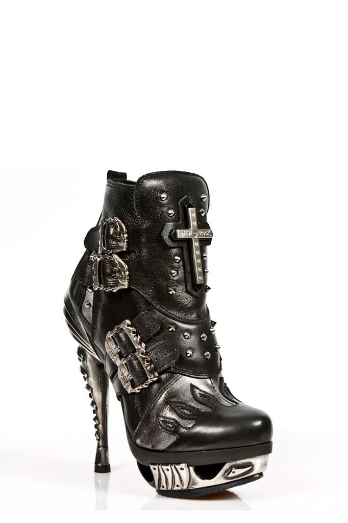 Черные кожаные ботильоны с необычным каблуком MAG005, 13
