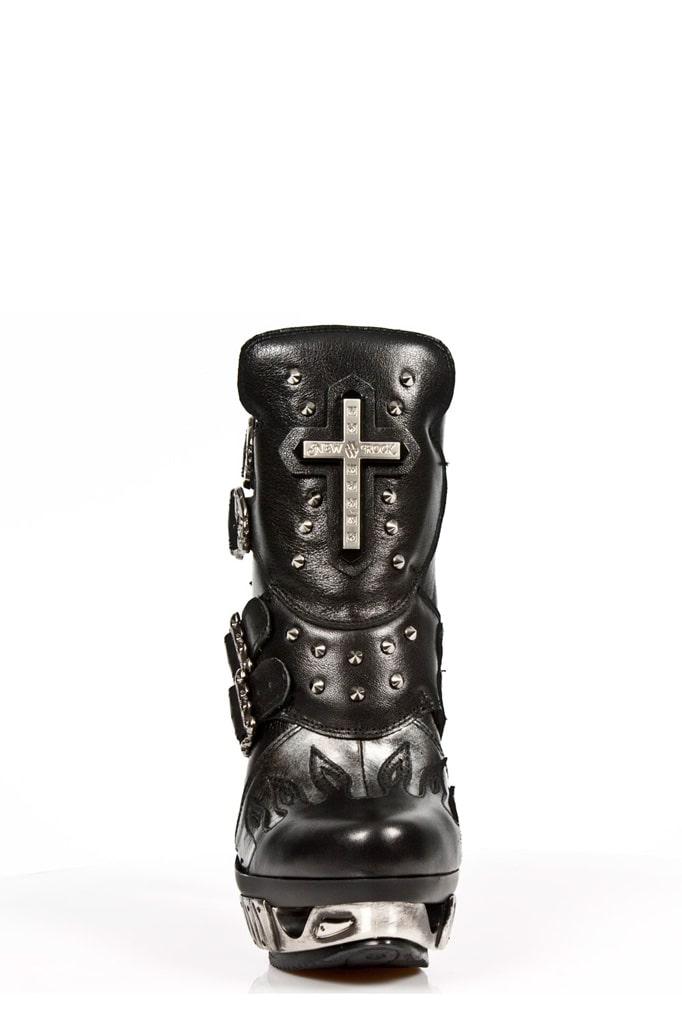 Черные кожаные ботильоны с необычным каблуком MAG005, 9