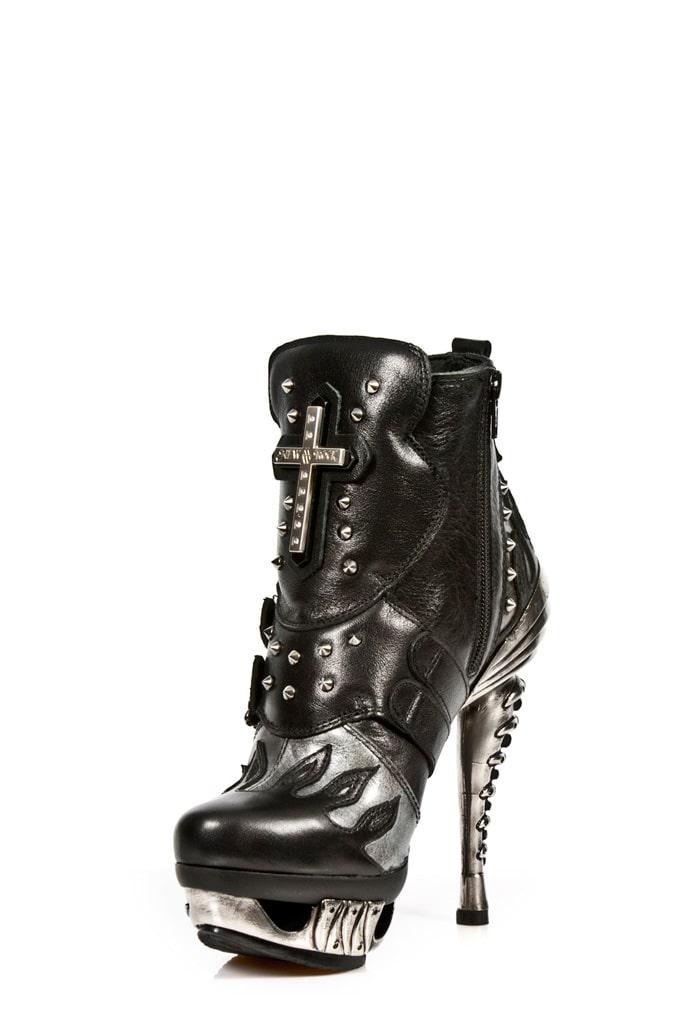 Черные кожаные ботильоны с необычным каблуком MAG005, 11