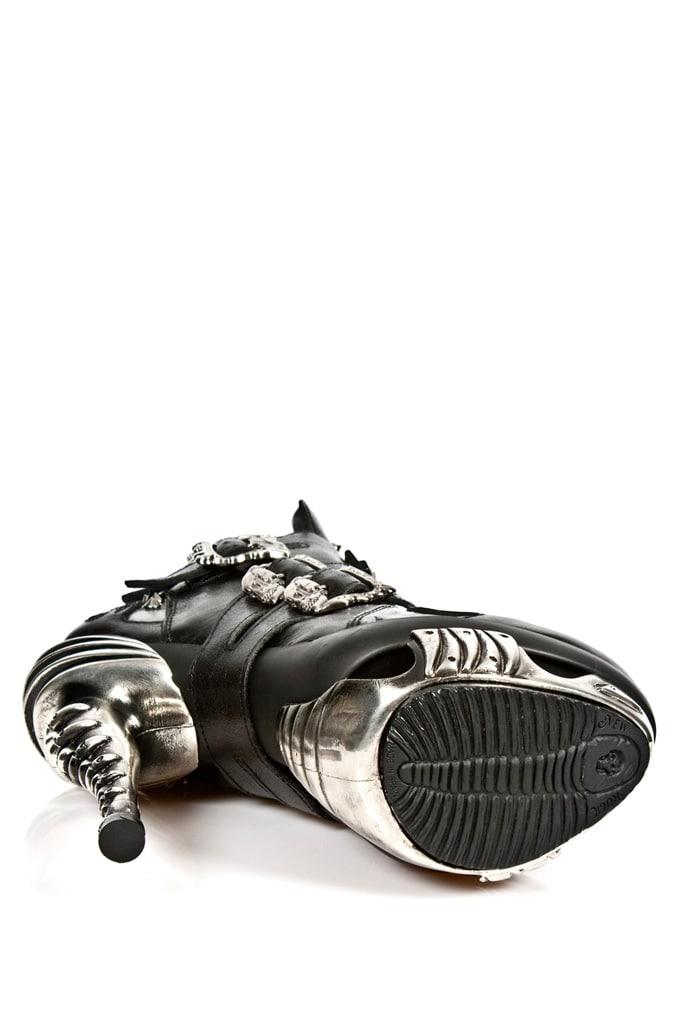 Черные кожаные ботильоны с необычным каблуком MAG005, 7