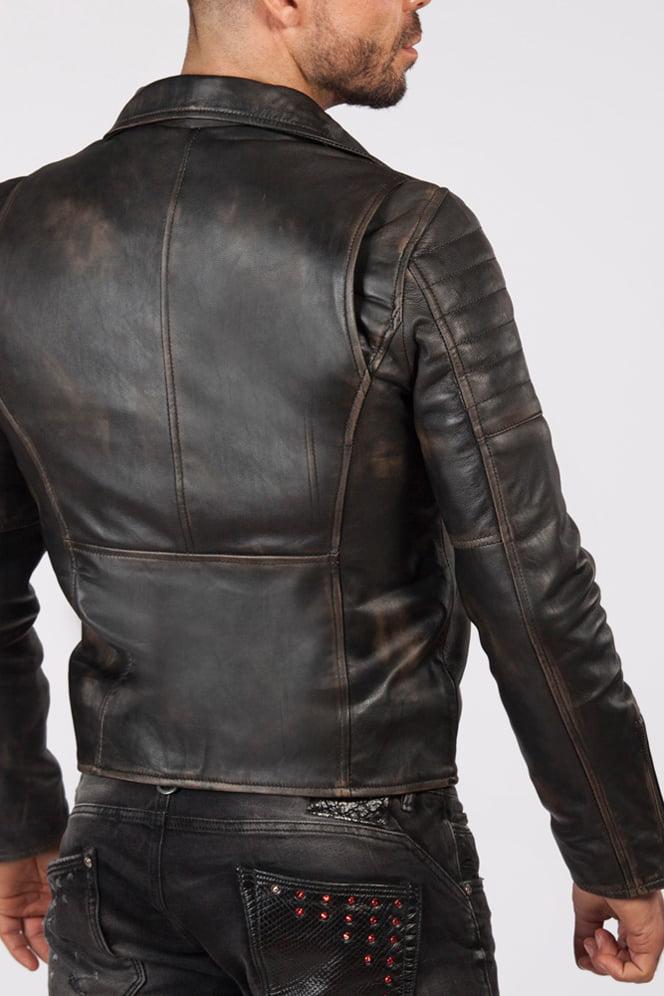 """Мужская куртка из """"состаренной"""" натуральной кожи J012S1, 5"""