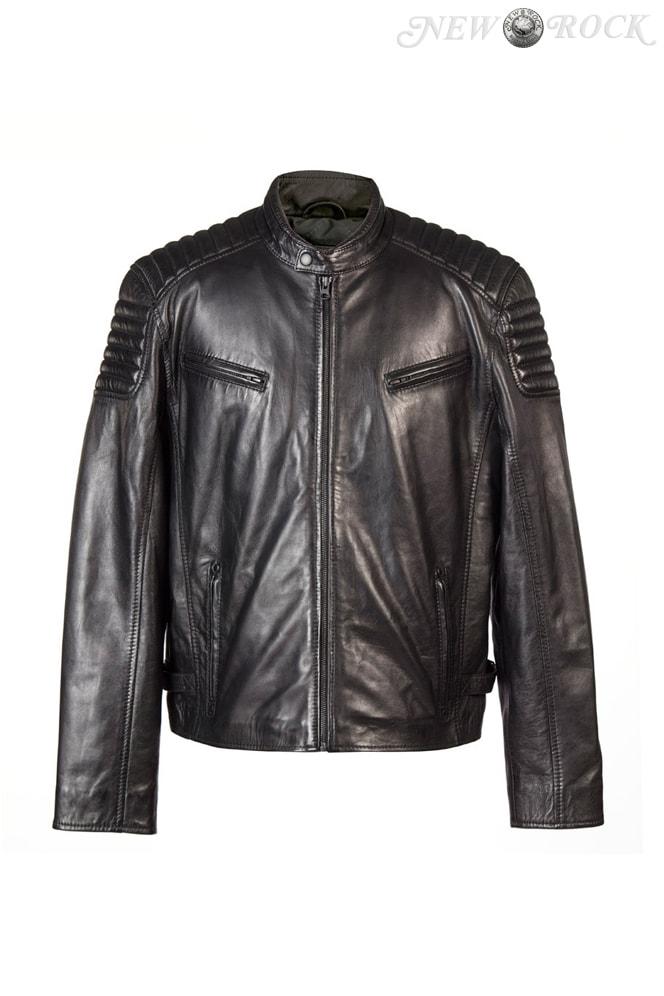 Черная мужская куртка из натуральной кожи New Rock, 11