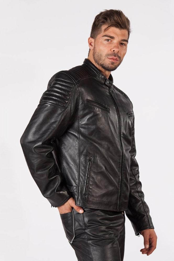 Черная мужская куртка из натуральной кожи New Rock, 9